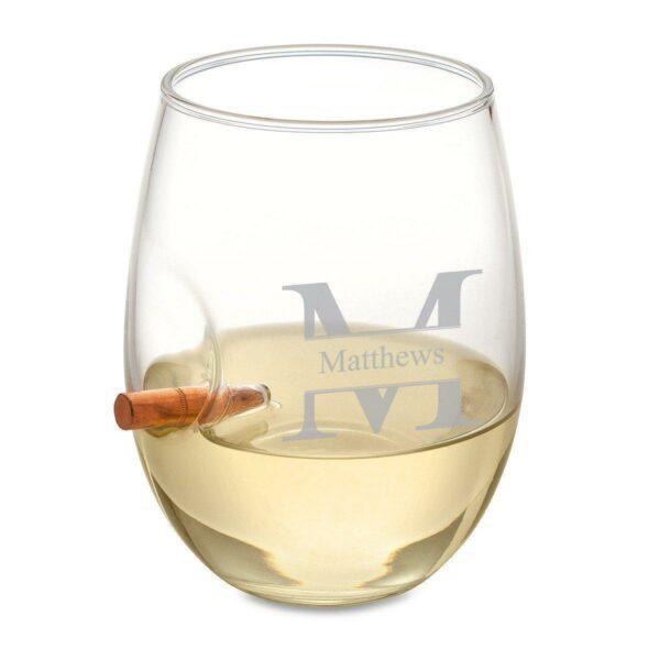 Bullet Wine Glass - Stamped Monogram