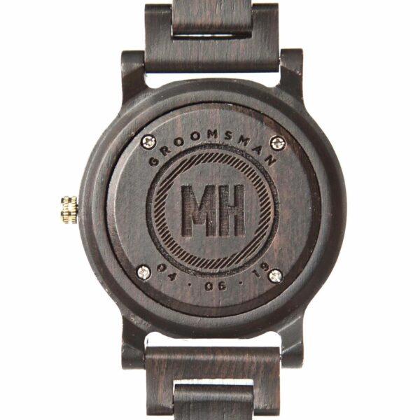 Custom Groomsmen Engraving on Ebony Black Wooden Watch