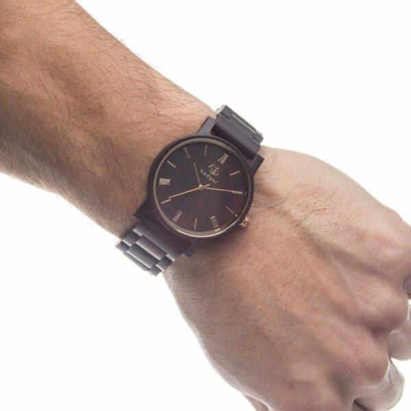 Ebony Black Wood Watch on Wrist of Groomsman