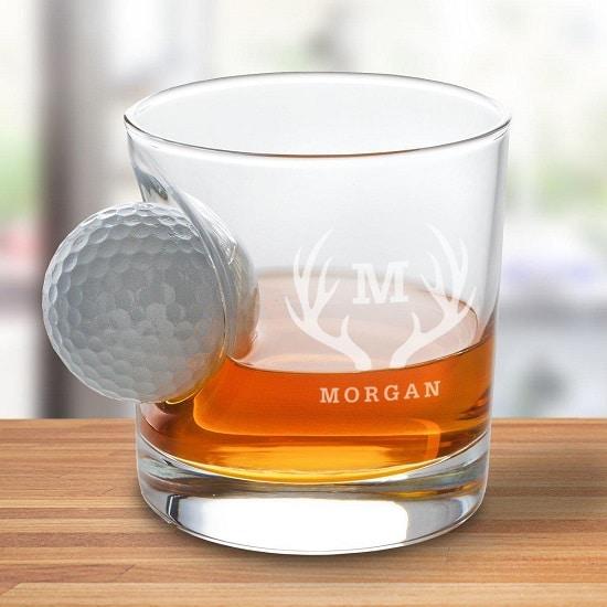 Golf Ball Whiskey Glass - Antler Monogram