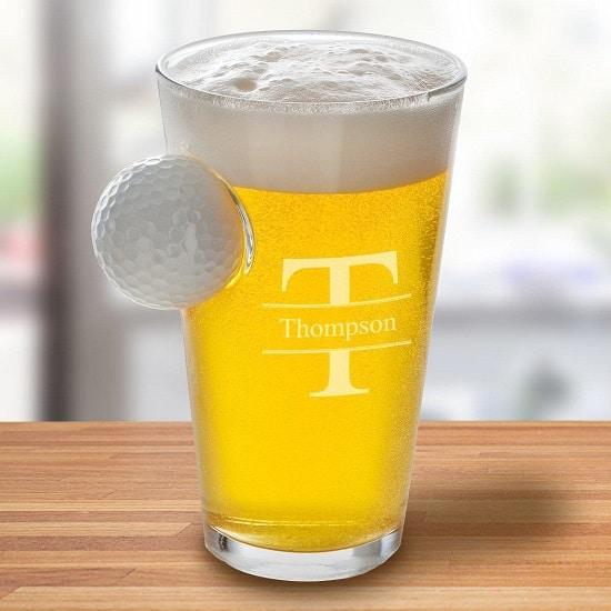 Golf Ball in Pint Glass - Stamped Monogram