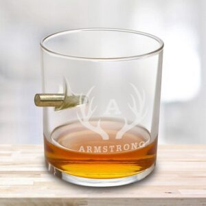 Personalized Bullet in Glass - Lowball Whiskey Glass - RO168