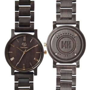 Personalized Ebony Black Links Wood Watch (By Swanky Badger)