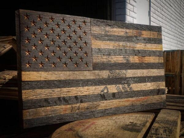 This wooden American Flag will look awesome on the wall of your man cave, den or office
