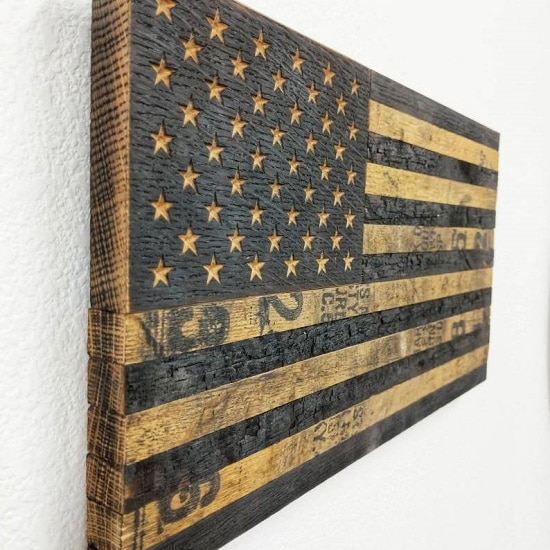 Wooden American Flag gift for dad on Father's Day or Christmas