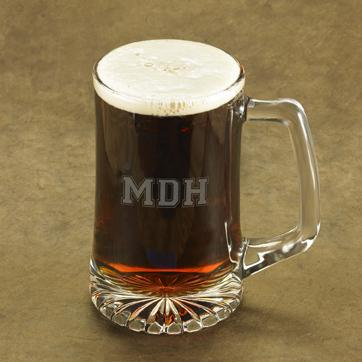 Personalized Varsity 3 Letter Monogram Beer Mug
