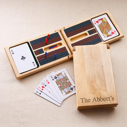 Cribbage Game Set in Personalized Birch Wood Case
